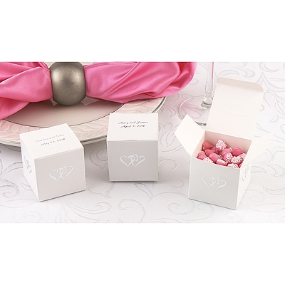 White Linked At The Heart Favor Boxes - Personalized