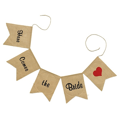 Burlap Banner Garland - Here Comes the Bride