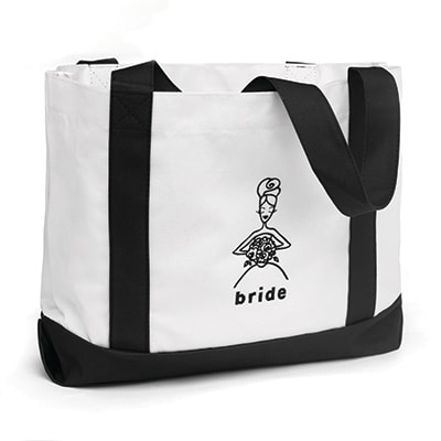 Wedding Party Tote Bags - Bride - White