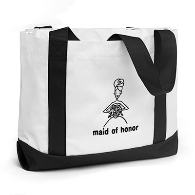 Wedding Party Tote Bags - Maid of Honor - White