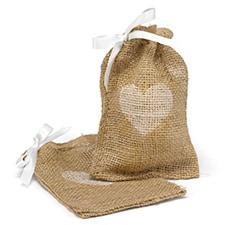 Burlap Favor Bags - Heart
