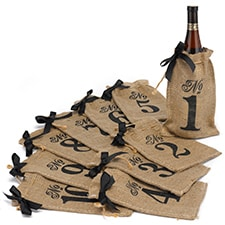 Burlap Table Number Wine Bags (1 - 10)