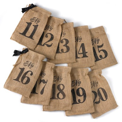 Burlap Table Number Wine Bags (11 - 20)
