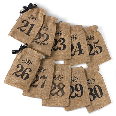 Burlap Table Number Wine Bags (21 - 30)