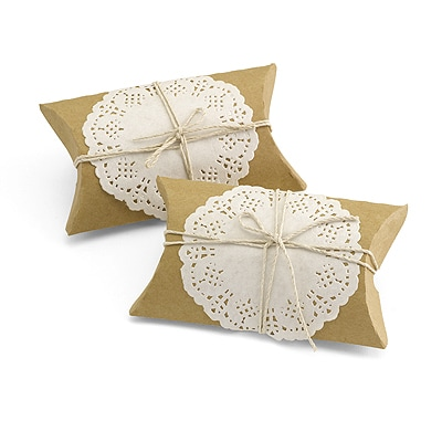 Kraft Pillow Box with Lace and Twine Kit