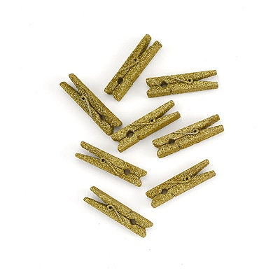 Mini Glitter Clothespins - Gold