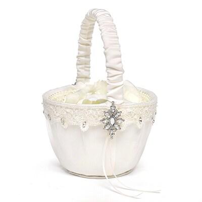 Sparkling Elegance Flower Basket - Ivory