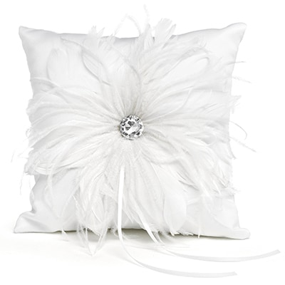 Feathered Flair Ring Pillow - White
