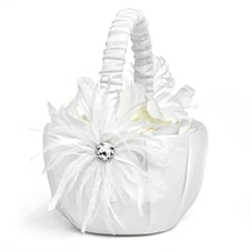 Feathered Flair Flower Basket - White