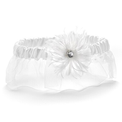 Feathered Flair Garter - White