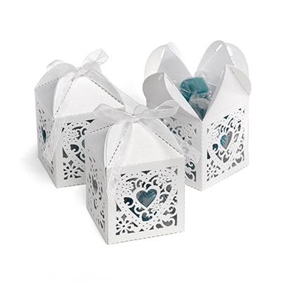 Square Decorative Favor Boxes - White