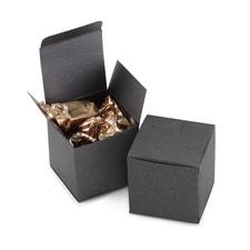 Square Favor Box - Black Shimmer