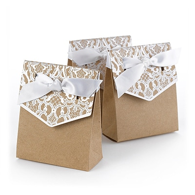 Naturally Vintage Tent Favor Box - Silver - Blank