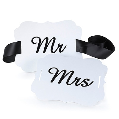 Mr. and Mrs. Scallop Chair Banners - White