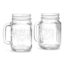 Woodgrain Love Drinking Jars