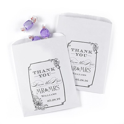Vintage Floral Treat Bags - White