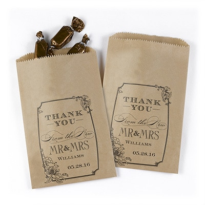 Vintage Floral Treat Bags - Kraft