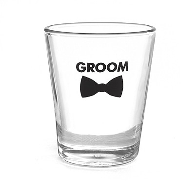Bow Tie Wedding Party - Shot Glass - Groom