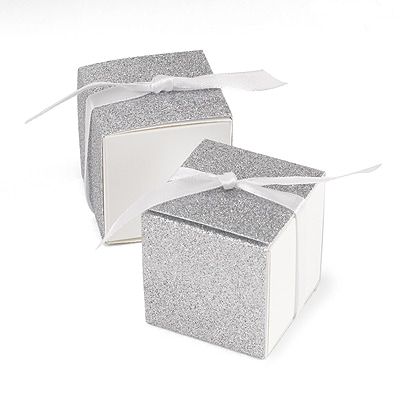Glitter Wrap - Favor Boxes - Silver