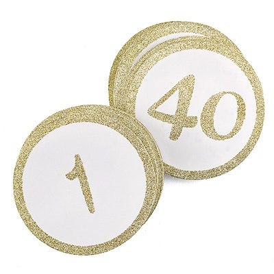 Glitter - Table Cards - Gold