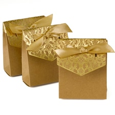 Naturally Vintage Tent Favor Box - Gold - Blank