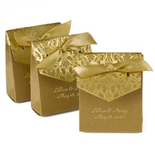 Naturally Vintage Tent Favor Box - Gold - Personalized