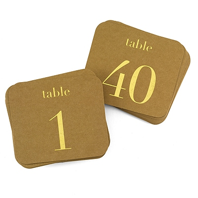 Kraft Table Number Cards - Gold