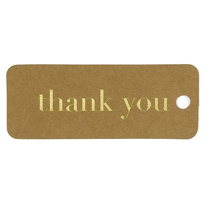 Kraft Thank You Tags - Gold
