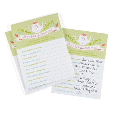 Tea Time - Bridal Shower Game Card