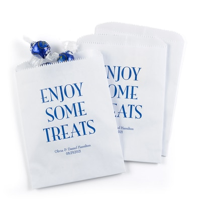 Enjoy Some Treats Treat Bags - Personalized - White