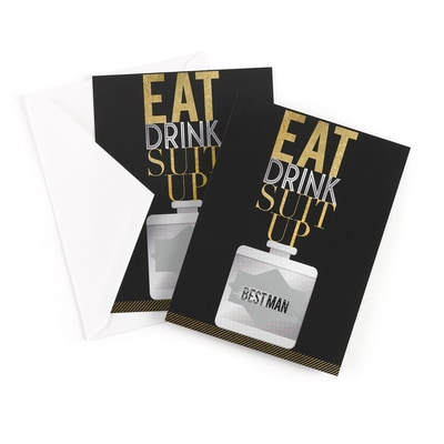Eat, Drink, Suit Up - Scratch Off Card - Best Man