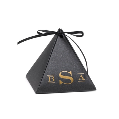 Pyramid Favor Box - Black Shimmer - Personalized