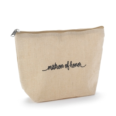 Matron of Honor Natural Jute Cosmetic Bag