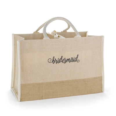 Bridesmaid Natural Jute Tote Bag - Large