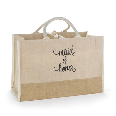 Maid of Honor Natural Jute Tote Bag - Large