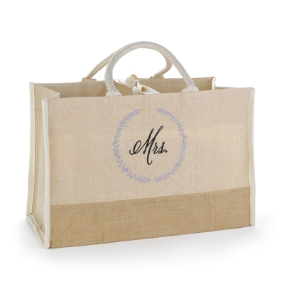 Rustic Wreath Mrs. Jute Tote Bag