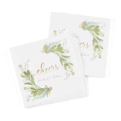 Greenery Beverage Napkin - Personalized
