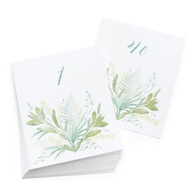 Greenery Table Number Cards