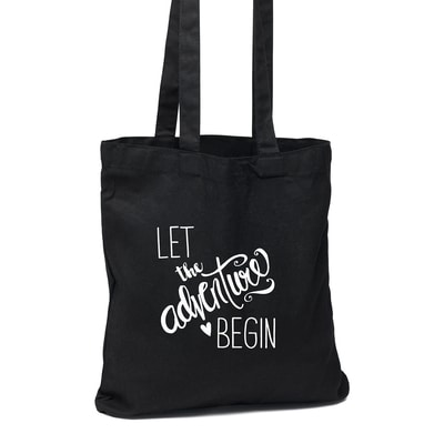 The Adventure Begins Black Tote Bag