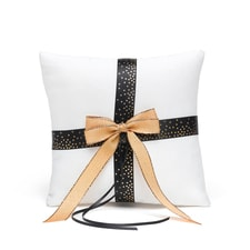 Black & Gold Dot Ring Pillow