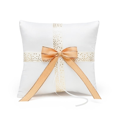 Ecru & Gold Dot Ring Pillow