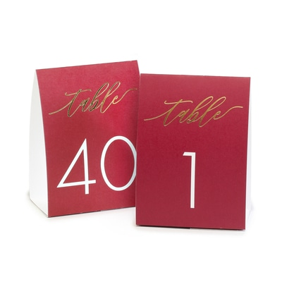 Table Number Tents - Burgundy
