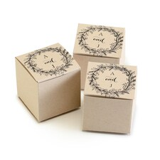 Rustic Wreath - Favor Box - Personalized