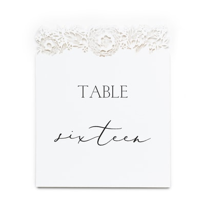 Floral Laser Cut - Table Number Cards 11-20