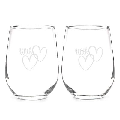 With Love Stemless Wine Glasses