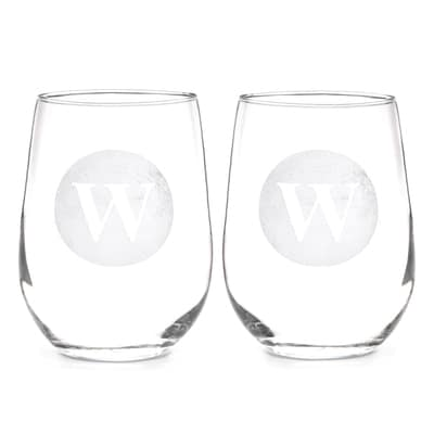 Circle Monogram Stemless Wine Glasses