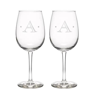 Dot Initial Wine Glasses