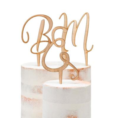 Script Initial Wood Cake Pick