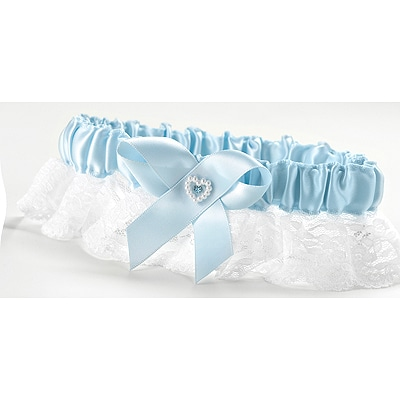 Heart and Rhinestone Garter Bridal - Blue
