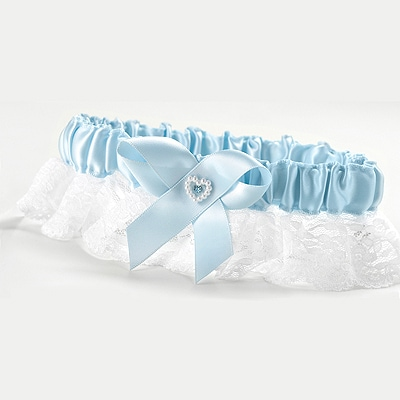 Heart and Rhinestone Garter Full Figure Blue